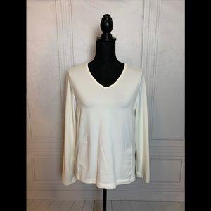 Cream V-Neck Comfy Long Sleeve Top